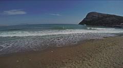Panorama view on yaht, sea, waves, coast Stock Footage