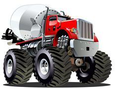 Cartoon Mixer Monster Truck Piirros