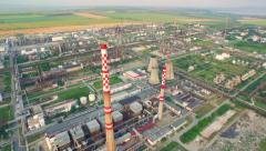Environment Pollution Concept Oil Industry Refinery Factory Aerial Shot Ecology Stock Footage