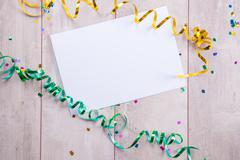 close up of a blank greeting card with decoration - stock photo