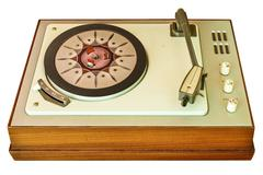 Old vinyl turntable player from the seventies isolated on white Stock Photos