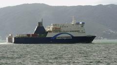 Cook Strait Ferry Leaving Wellington Harbour Stock Footage