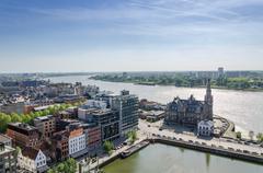 Aerial view over the city of Antwerp in Belgium - stock photo