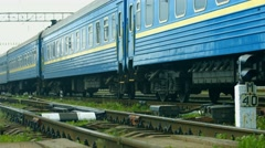 Wagons moving at the depot. Train makes a stop. - stock footage