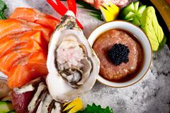 fresh sushi choice combination assortment selection - stock photo