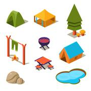 Stock Illustration of Isometric 3d Forest Camping Elements for Landscape Design