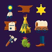 Wild West Cowboy Flat Icons Stock Illustration