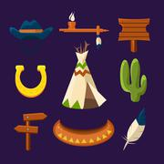 Stock Illustration of Wild West Cowboy Flat Icons