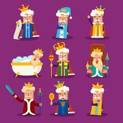 King Cartoon Illustration Set Stock Illustration