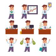 Set of Businessman Activities Vector - stock illustration