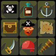 Vector Color Flat Icons Set and Illustrations Pirate Stock Illustration