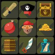Vector Color Flat Icons Set and Illustrations Pirate - stock illustration