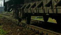 Train goes to the depot. Last wagon. Stock Footage