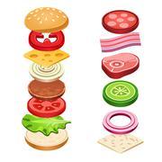 Sandwich Ingredients Food Vector Illustration - stock illustration