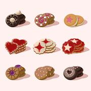 Cookies of Cartoon Vector Food Icons Stock Illustration