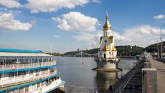 Sunny day with clouds over the Dnieper River in Kyiv Timelapse Stock Footage