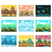 Vector Landscape Cartoon Seamless Backgrounds Set - stock illustration