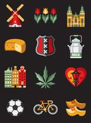 Netherlands Travel Symbols - stock illustration