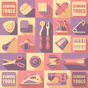 Sewing Tailoring and Needlework Decorative Icons - stock illustration