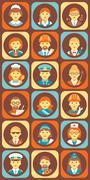 Set of Colorful Profession People Flat Style Icons Stock Illustration