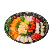 take away sushi express on plastic tray - stock photo