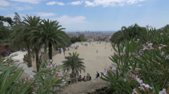 Palm trees on the main terrace of Park Guell, Barcelona Stock Footage
