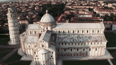 Aerial view of Pisa Cathedral and Leaning Tower Stock Footage