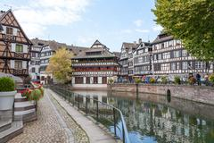 Strasbourg, water canal in Petite France area Stock Photos