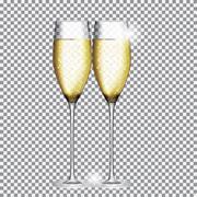 Glass of Champagne Vector Illustration - stock illustration