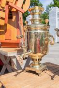 Traditional russian old bronze samovar - stock photo