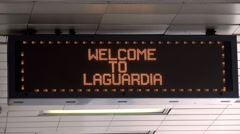 Welcome Sign of LaGuardia Airport. NYC, USA Stock Footage