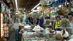 Buyers in 'The Shell Warehouse' gift store at Mallory Square. Key West Stock Footage