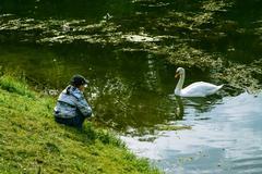 Boy and swan Stock Photos