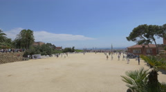Great view of the main terrace of Park Guell, Barcelona Stock Footage