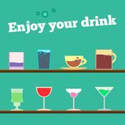 Vector set of goblets, cups, glass with drink on bar regiment Stock Illustration