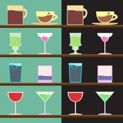 Vector set of goblets, cups, glass with drink on bar regiment - stock illustration