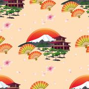 Japanese abstract background with fans and landscape - stock illustration