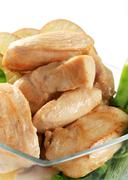 Pan seared chicken breast fillets with snow peas and apple - stock photo