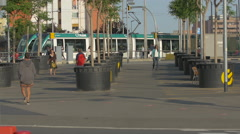 One tram leaving the tram station in Barcelona Stock Footage