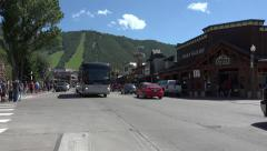 Jackson Wyoming main street traffic stores 4K Stock Footage