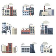 Industrial Building Set - stock illustration