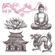 Asian Sketch Set - stock illustration