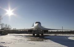 Strategic bomber Tupolev Tu-160 on Aviation Museum - stock photo