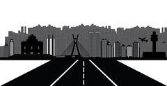 sao paulo city skyline - stock illustration