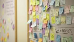 Post it notes or sticky notes at business office Stock Footage
