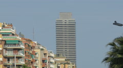 Mapfre Tower in Port Olimpic, Barcelona Stock Footage