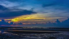 Time Lapse: Tropical sunset in the sea at low tide Stock Footage