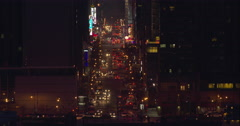 Stock Video Footage of The length of 42nd Street in Manhattan at night