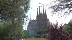 Great view of Sagrada Familia church in Barcelona Stock Footage