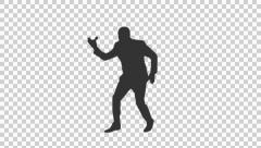 Silhouette of a man in suit singing and dancing (on alpha matte) - stock footage